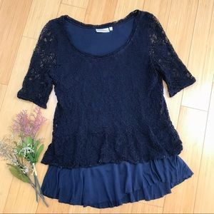 Anthropologie DELETTA blue lace layered top, S.